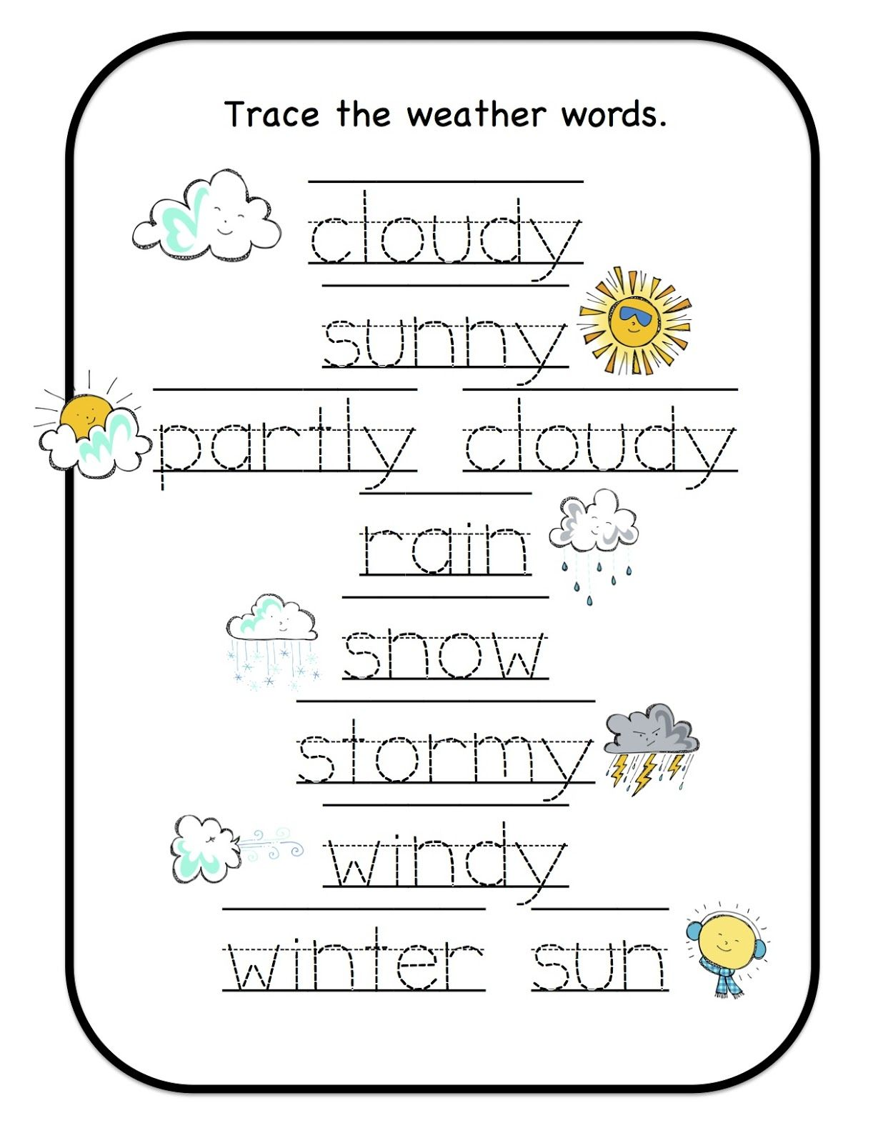 Free Weather Printables for Preschool Kindergarten
