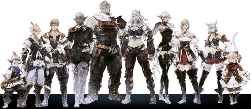 FFXIV Races; from left to right: Lalafell M, Miqo'te M, Hyur M ...