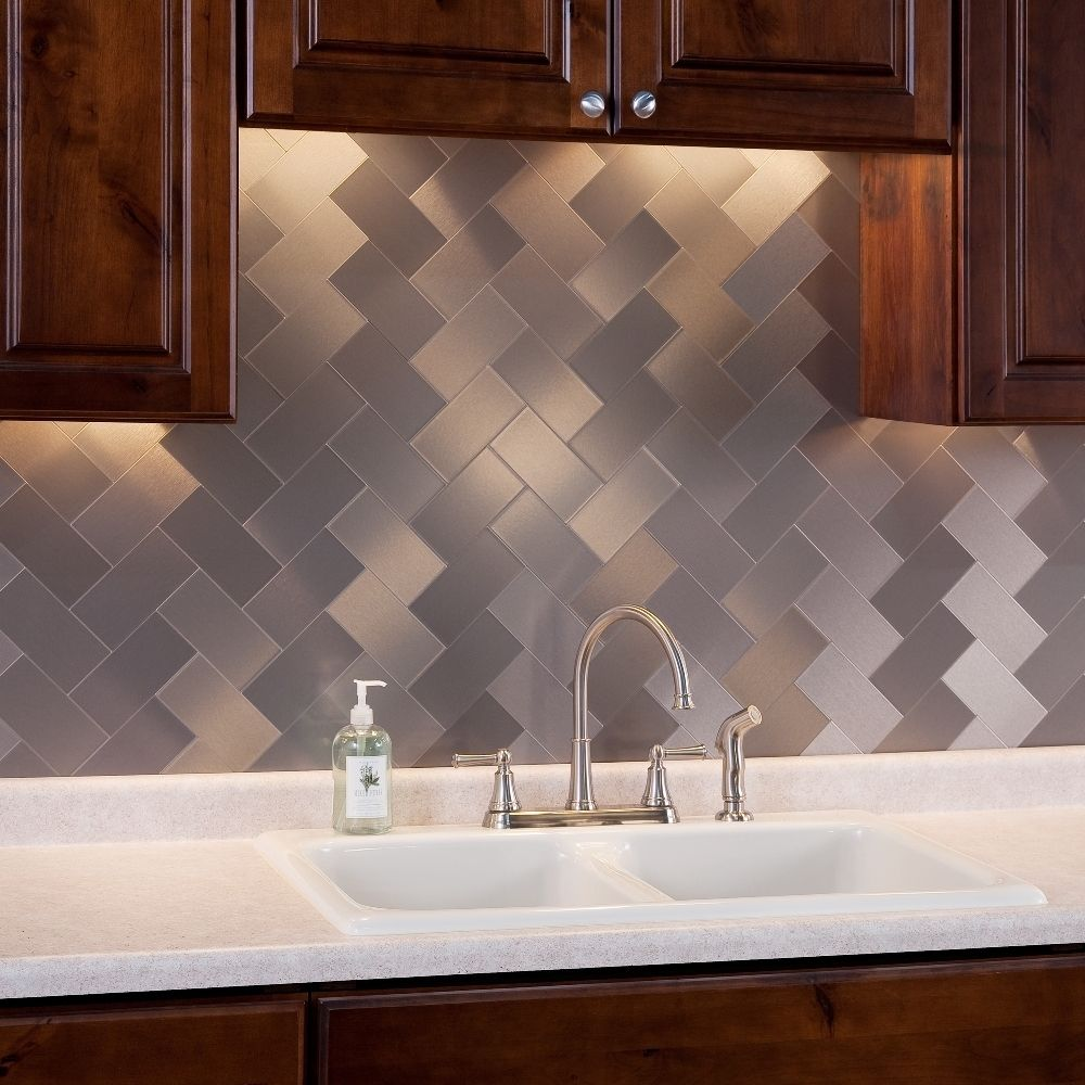 Aspect xinch brushed stainless long grain metal tile pack