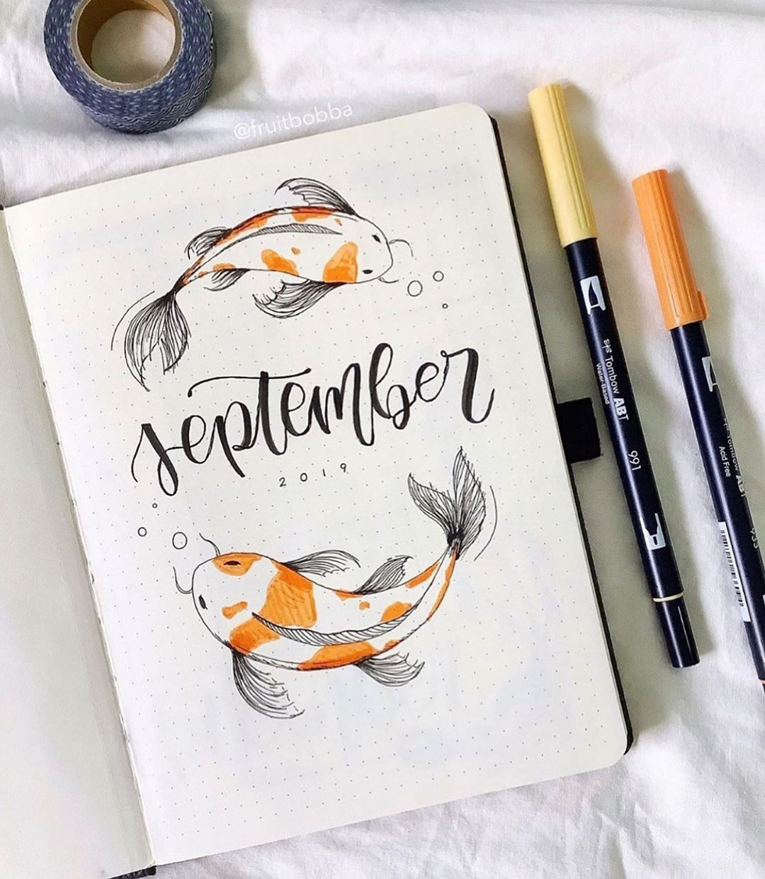 """bullet journal inspiration. � on Instagram: """"some September inspiration for anyone setting up a cover page now, by @fruitbobba ️ thanks so much for 620k everyone! // Use the tag…"""""""