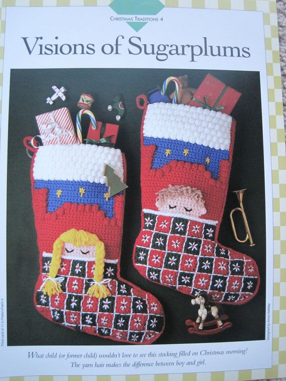 Crochet Pattern - Visions of Sugar Plums - Christmas Stockings - 15 ...