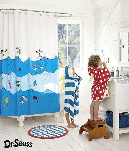 One Fish Two Red Blue Dr Seuss Shower Curtain From Pottery Barn Kids