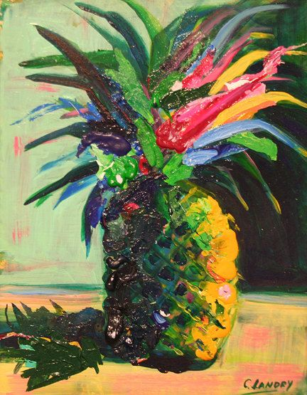 11x14 Abstract Pineapple painting by CarolLandryfineart on