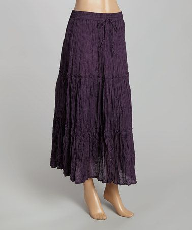 2d724cc7ec Purple Crinkle Maxi Skirt by Sacred Threads Boutique, 100% cotton, $15 !!  #zulily #zulilyfinds