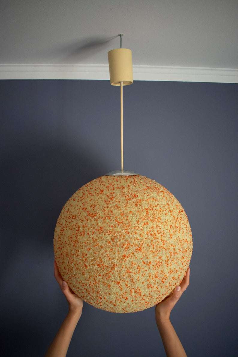 Huge Granulated Acrylic Pendant Lamp Moon Lamp Ball Lamp 1970s Plastic Pendant Light Space Age Xxl Pendant Light Lucite Pendant Light Pendant Lamp Ball Lamps