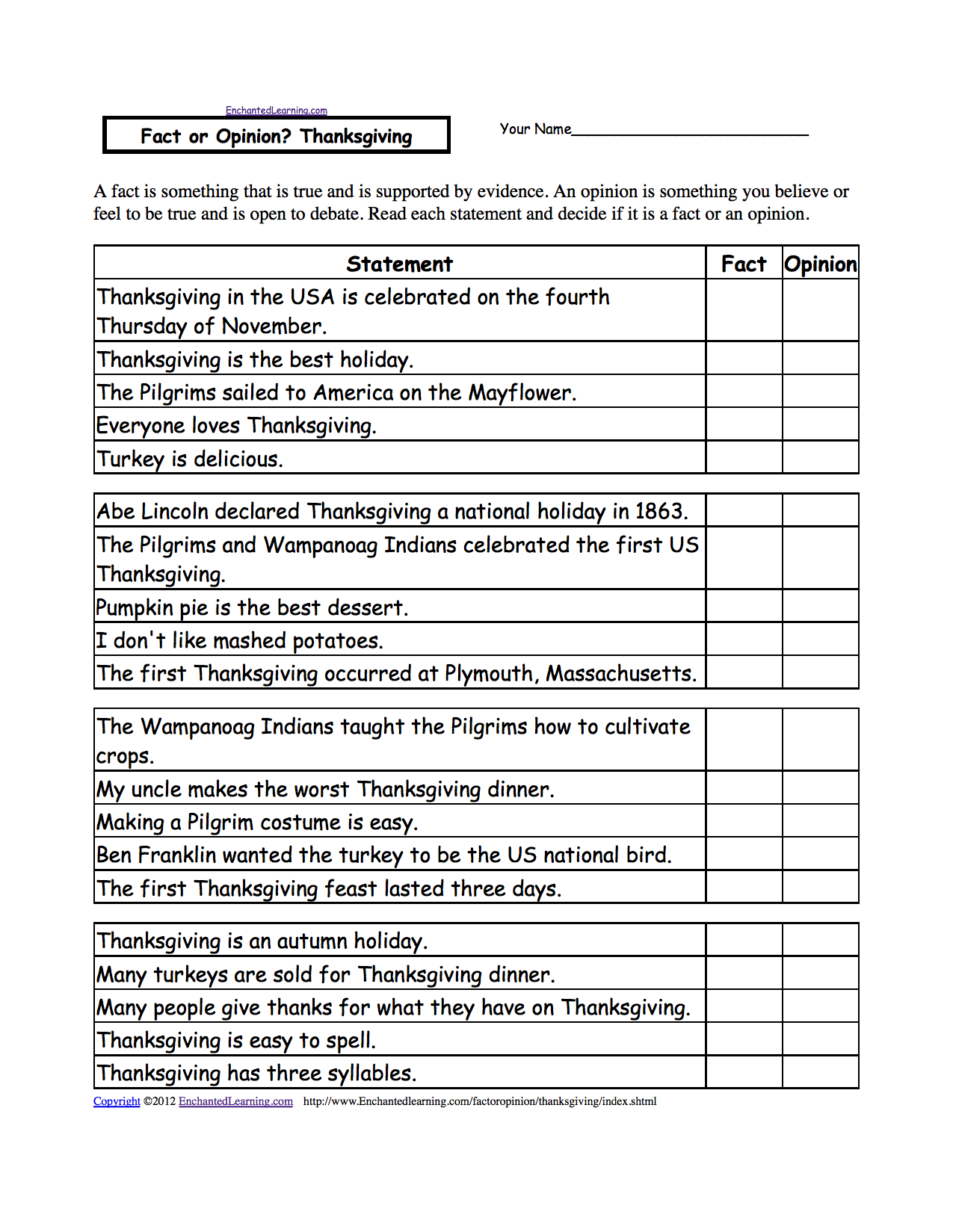 FREE THANKSGIVING RESOURCES Fact and opinion printable