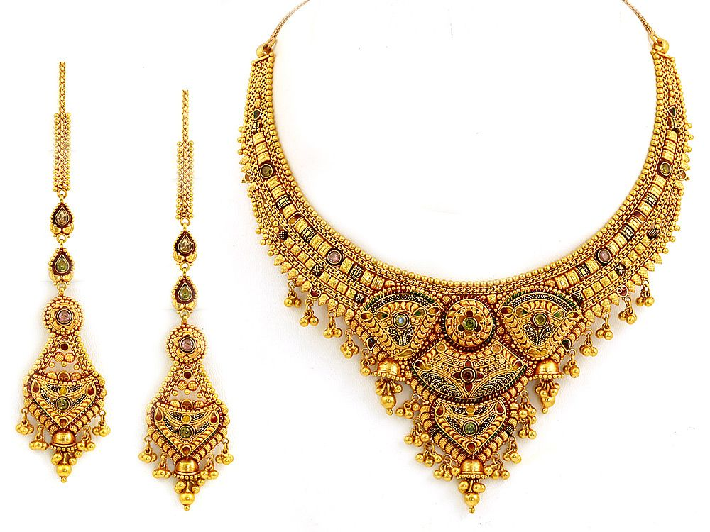heavy colour stones gold necklace sets | Jewellery Collection ...
