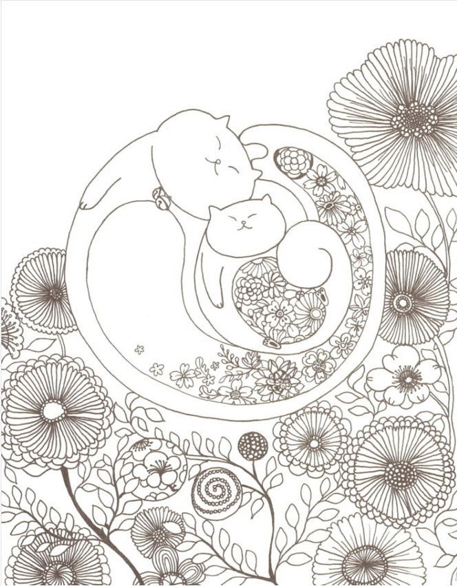 11 Of 12 Preview A Million Cats Coloring Book Adult Creative Art Gift Anti Stress