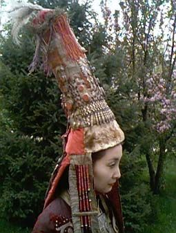 Kazakh bride's hat, called a saukele, but the style dates back to the time of Genghis Khan!