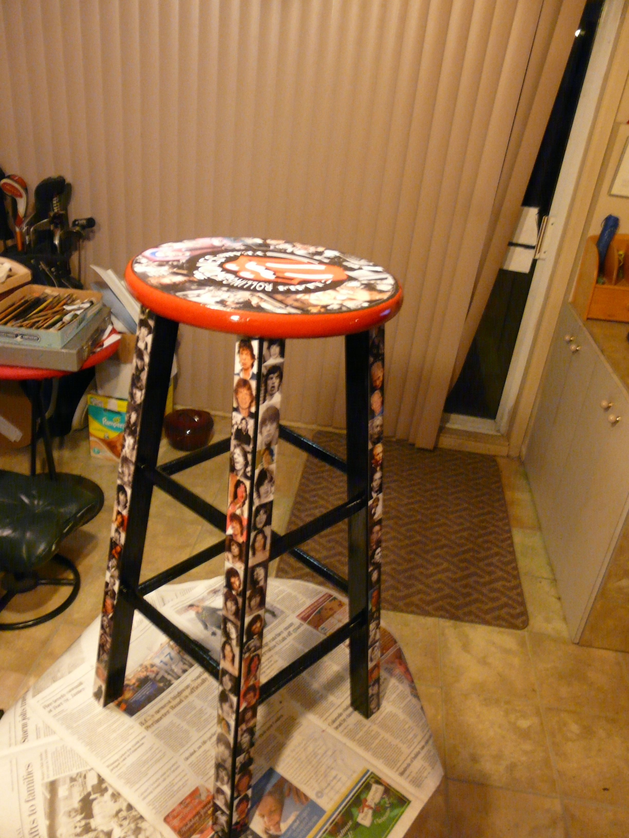 Rolling Stones Bar Stool Decoupage And Paint Created By