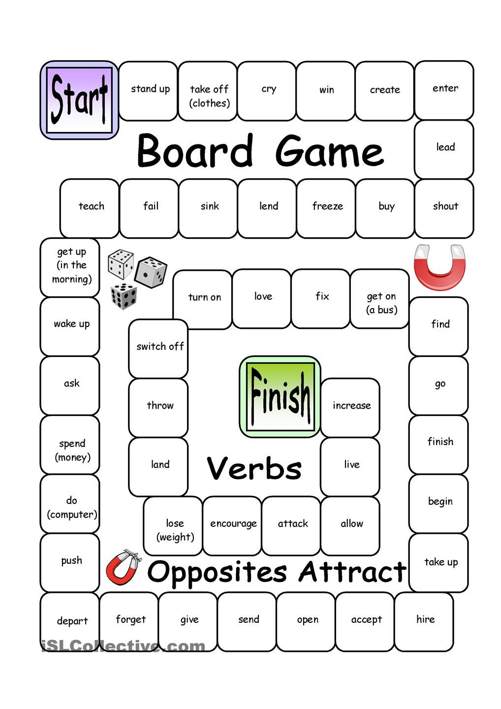 Board Game Opposites Attract Verbs Esl Teaching