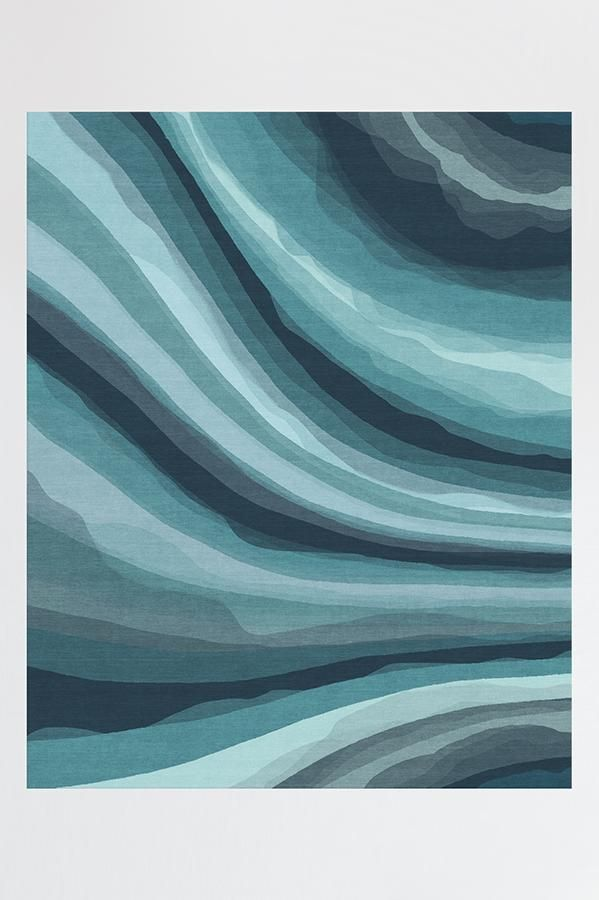 Watercolor Waves Blue Rug Watercolor Wave Washable Rugs