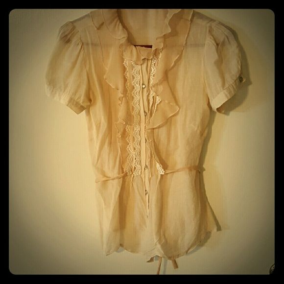 Sweet, belted pearl-snap Cream-colored sheer cotton blouse with sweet lace detail. Prefect when worn alone or with a cardigan. delia's Tops Blouses