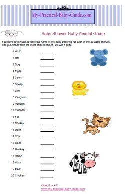 Baby Shower Baby Animal Game: Write The Name Of The Baby Offspring For Each  Of The Adult Animals