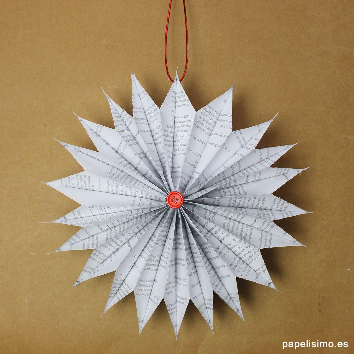 Adornos navidenos con papel periodico diy paper christmas - Adornos de navidad con papel ...