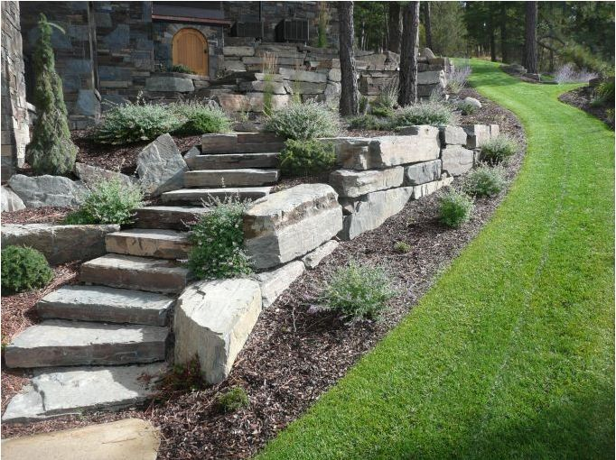 bolder retaining wall and stone