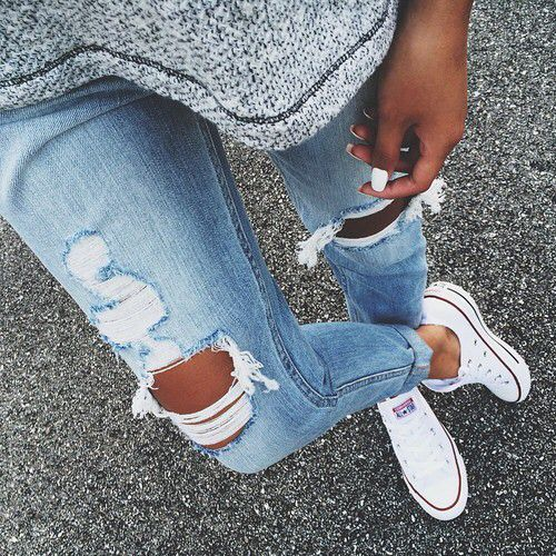 Ripped jeans look.   Denim converse, Converse shoes, Cute shoes