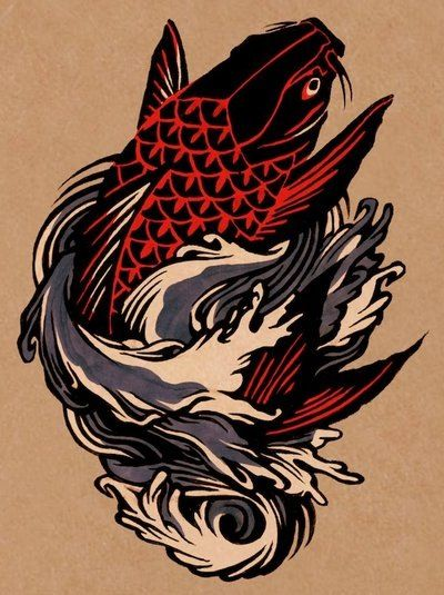 Red Koi Koi Fish Tattoo Wave Tattoo Design Koi Tattoo