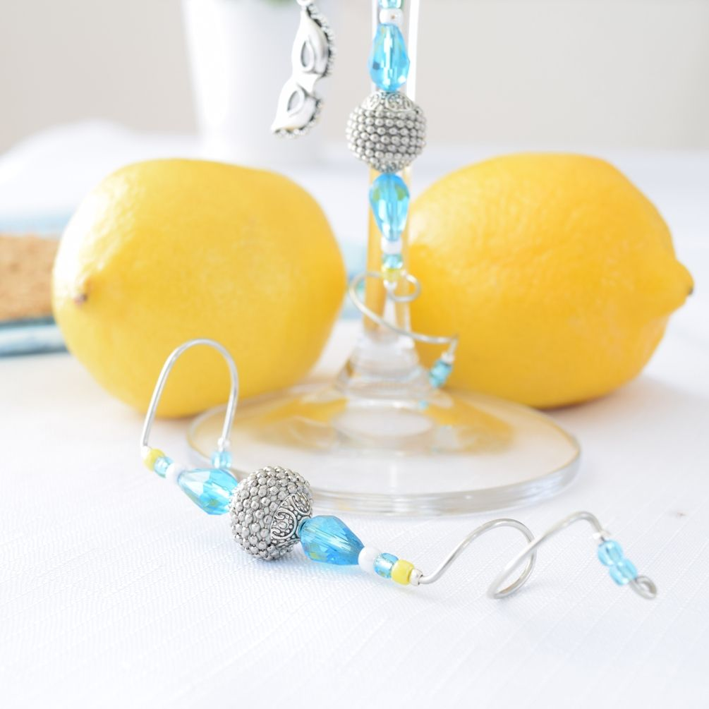 Inspired by the colors of Ana Capri. Ana Capri Stalice. Turquoise, White and Yellow Crystal & Glass Wine & Cocktail Glass Decoration. www.stalice.com