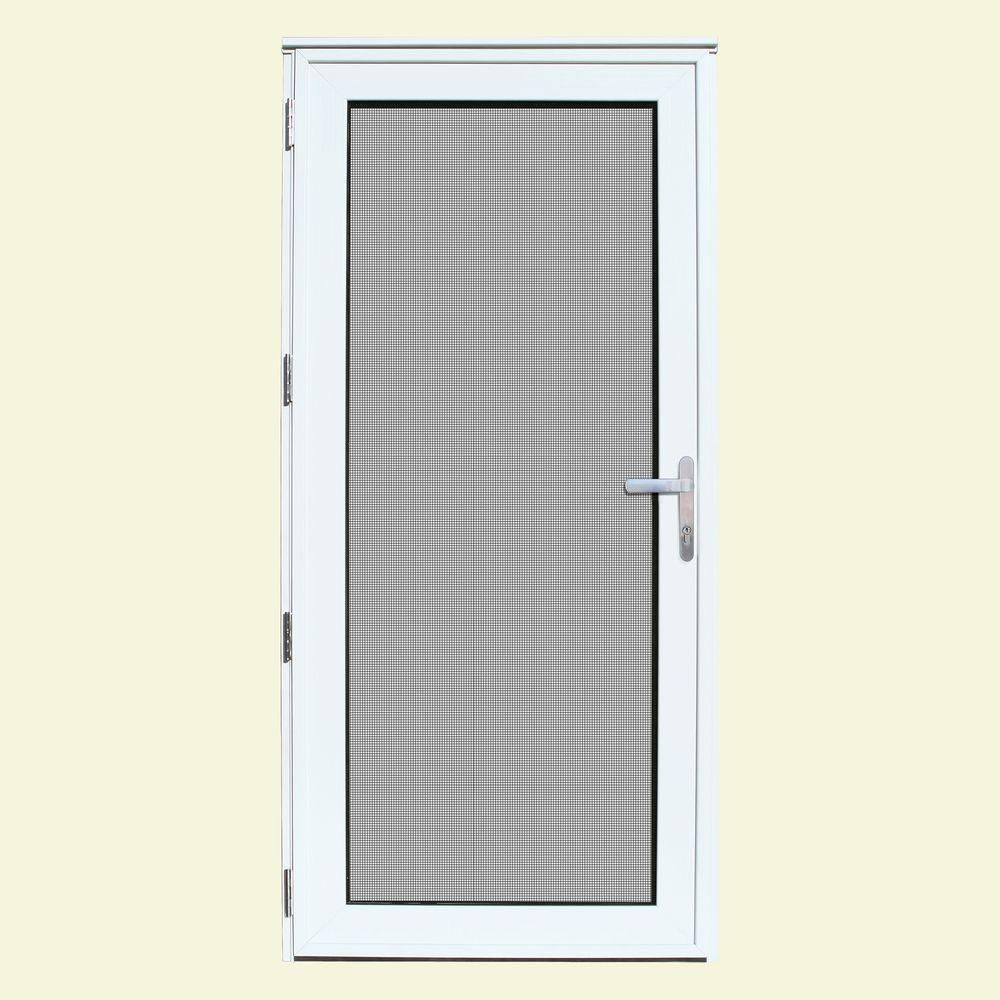Unique Home Designs 32 In X 80 In White Recessed Mount Left Hand Meshtec Security Door With Tempered Glass Insert 5v0000dn2whgla The Home Depot Security Storm Doors Unique House Design Storm Door