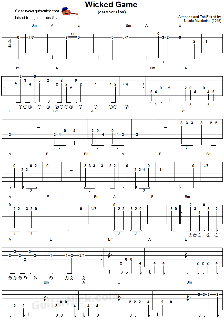 Wicked Game Easy Guitar Tablature 1 Guitar Stuff Pinterest