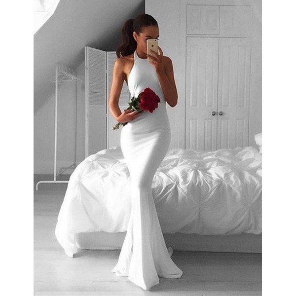 Long White Mermaid Dress
