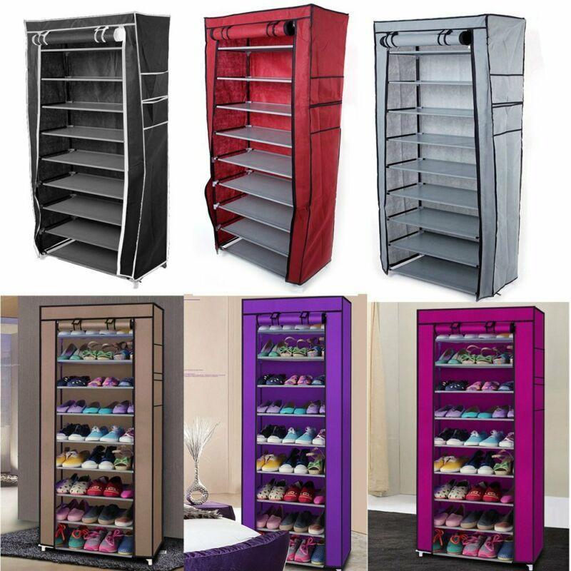 Details About New 10 Tier Shoe Rack Cabinet 30 Pairs With Cover Wall Bench Shelf Shoe Tower Storage Closet Organization Rack Shelf Shoe Rack
