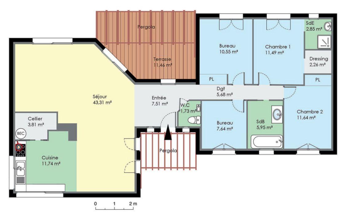 Plan 3 Ch 6 P 135m Plan Maison Contemporaine 5