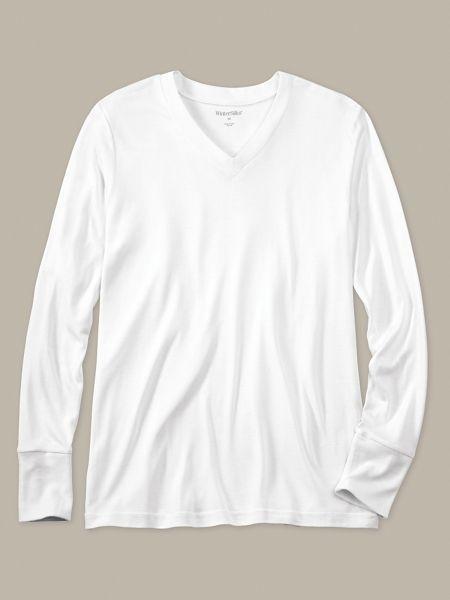 35208622bc572f Silk Long Underwear: Men's Long Sleeve V-neck Top in Heavyweight Spunsilk