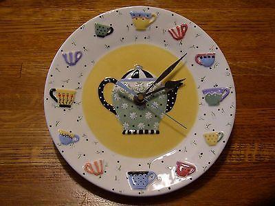 MARY ENGELBREIT Majolica Art Pottery Plate<>TEAPOT Tea Cup CLOCK Kitchen Decor