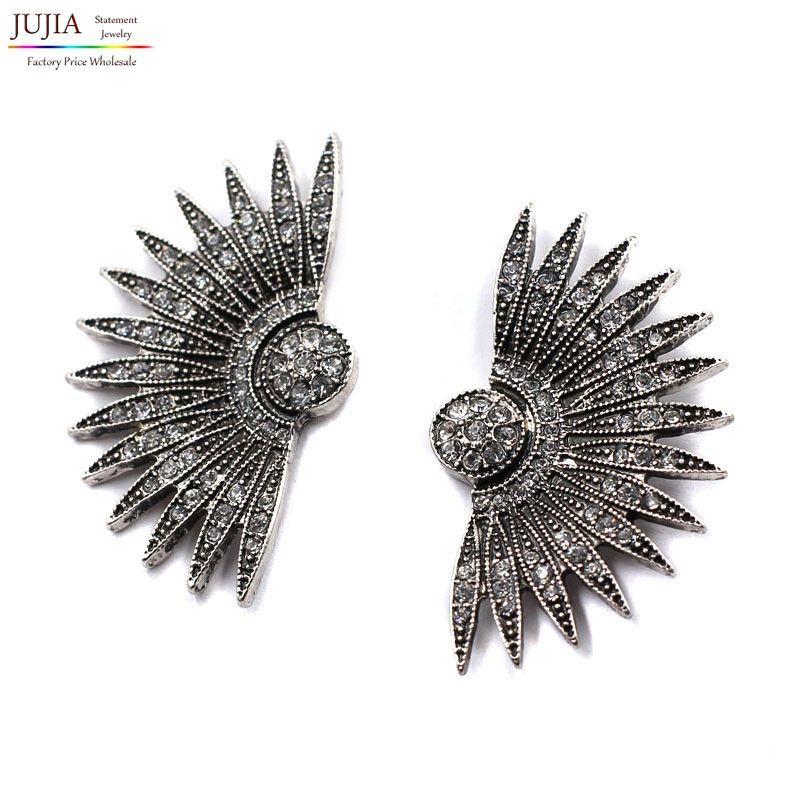 Vintage Ethnic Statement Earrings Fan Shape Rhinestone Earing Stud Jewelry