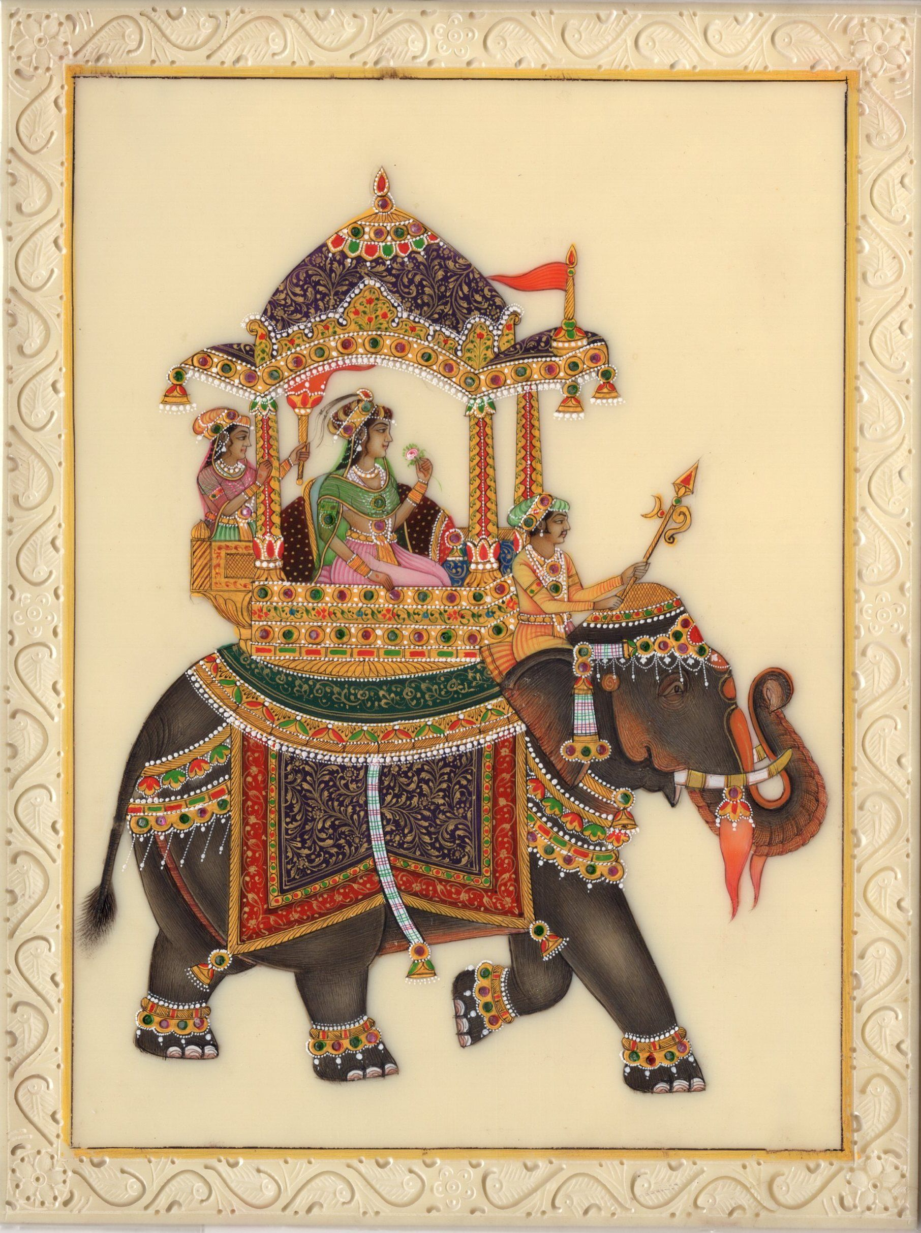 Traditional art wall hanging Rajasthani painting Rice paper painting Miniature painting Elephant painting