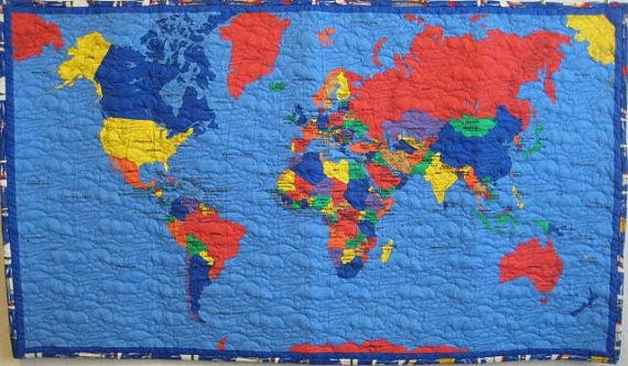 World map quilt for kids teens or adults wall by greatquiltations world map quilt for kids teens or adults wall by greatquiltations 7500 gumiabroncs Image collections