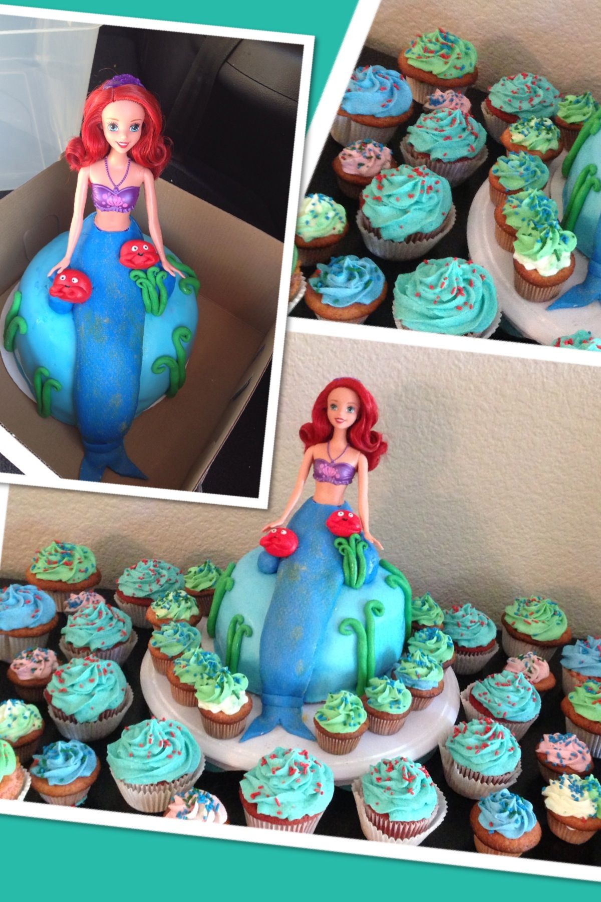 Ariel mermaid themed cake and cupcakes themed cakes