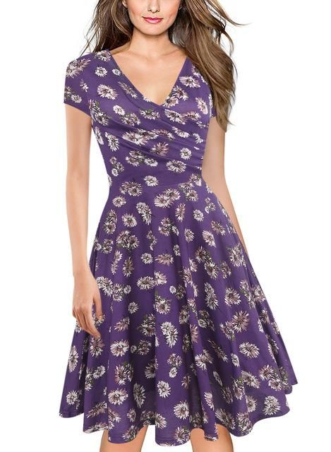 31617654cf2d Oxiuly Summer Knee Length Dress Women Blue Floral Print Dress V-Neck Short  Sleeve Retro Elegant Sexy A-Line Dress