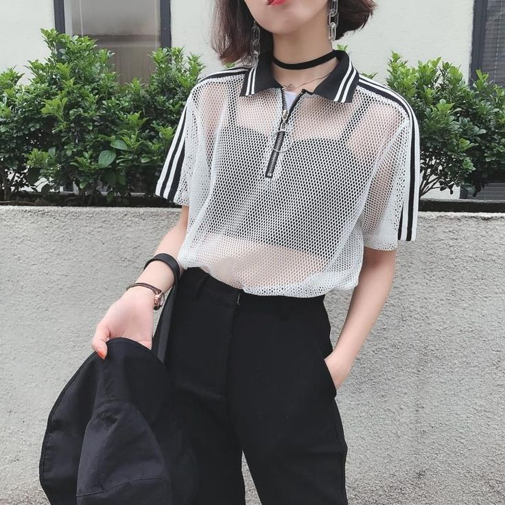Photo of itGirl Shop MESH WHITE BLACK SPORTISH CROP TOP RING FRONT ZIPPER POLO T-SHIRT Ae…