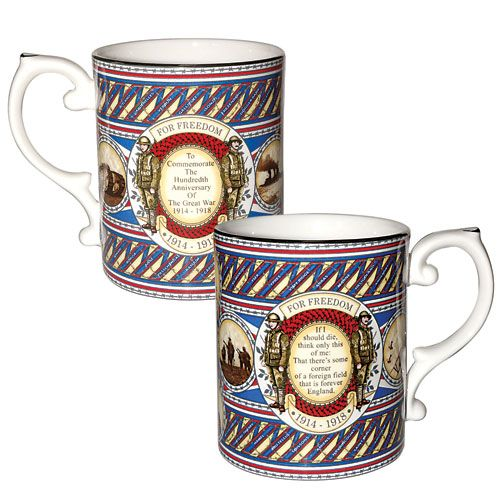 """Caverswall Commemorative Great War Mug  2014 to 2018 marks the centenary of the First World War, also called The Great War.  Created to commemorate the 100th anniversary of the outbreak of war, this fine bone china mug is inscribed with the names of sites where battles were fought and the reason that so many young men put their lives on the line and died fighting, """"For Freedom"""". It also records the first lines of British poet Rupert Brooke's sonnet, The Soldier : """"If I should die, Think only…"""