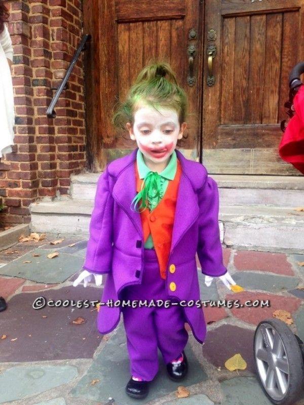 Fun Homemade Joker Costume for a Little Bat-Fan Girl Little girl - halloween kids costume ideas