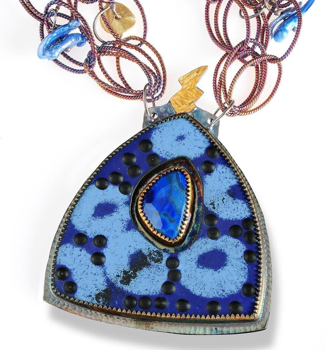 JULIE SHAW | #artridercraftswestport #brooklynmuseumartshow #enameljewelry #oneofakindjewelry #stones #rings #totems had to post again loving blues