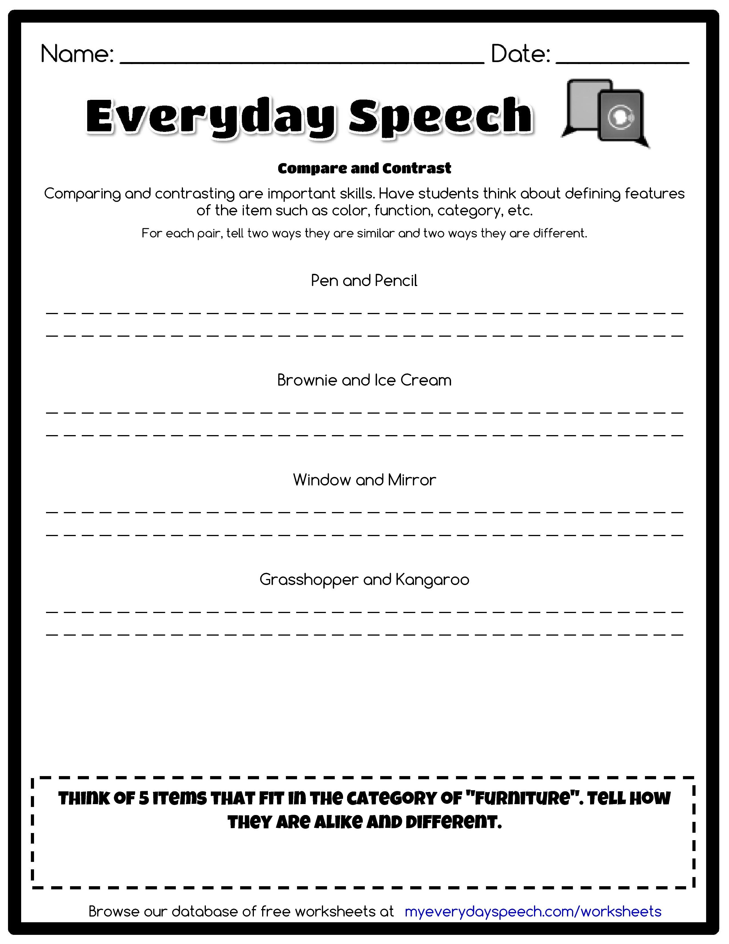 Check Out The Worksheet I Just Made Using Everyday Speech S Worksheet Creator Compare And Contra Speech Therapy Worksheets Social Skills Program Social Skills
