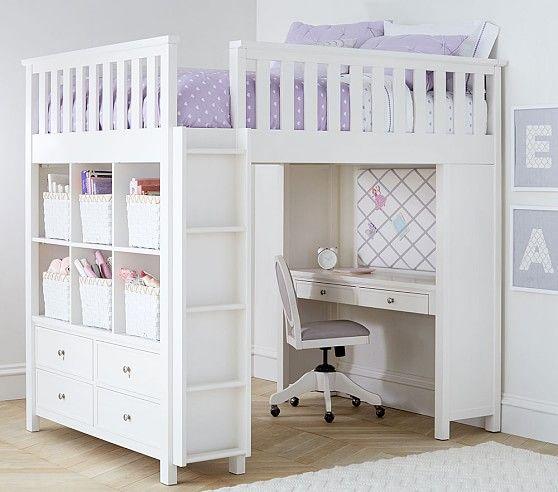 Elliott Full Loft System Pottery Barn Kids Kids Loft Beds Girls Loft Bed Loft Bed