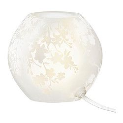 Knubbig Table Lamp Cherry Blossoms Frosted Glass White Elise S