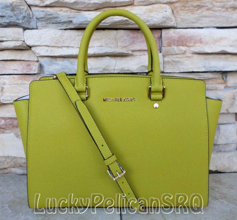 d8ed8201151160 Michael Kors Large Selma Apple Green Saffiano Leather Satchel Tote Bag NWT # MichaelKors #Satchel