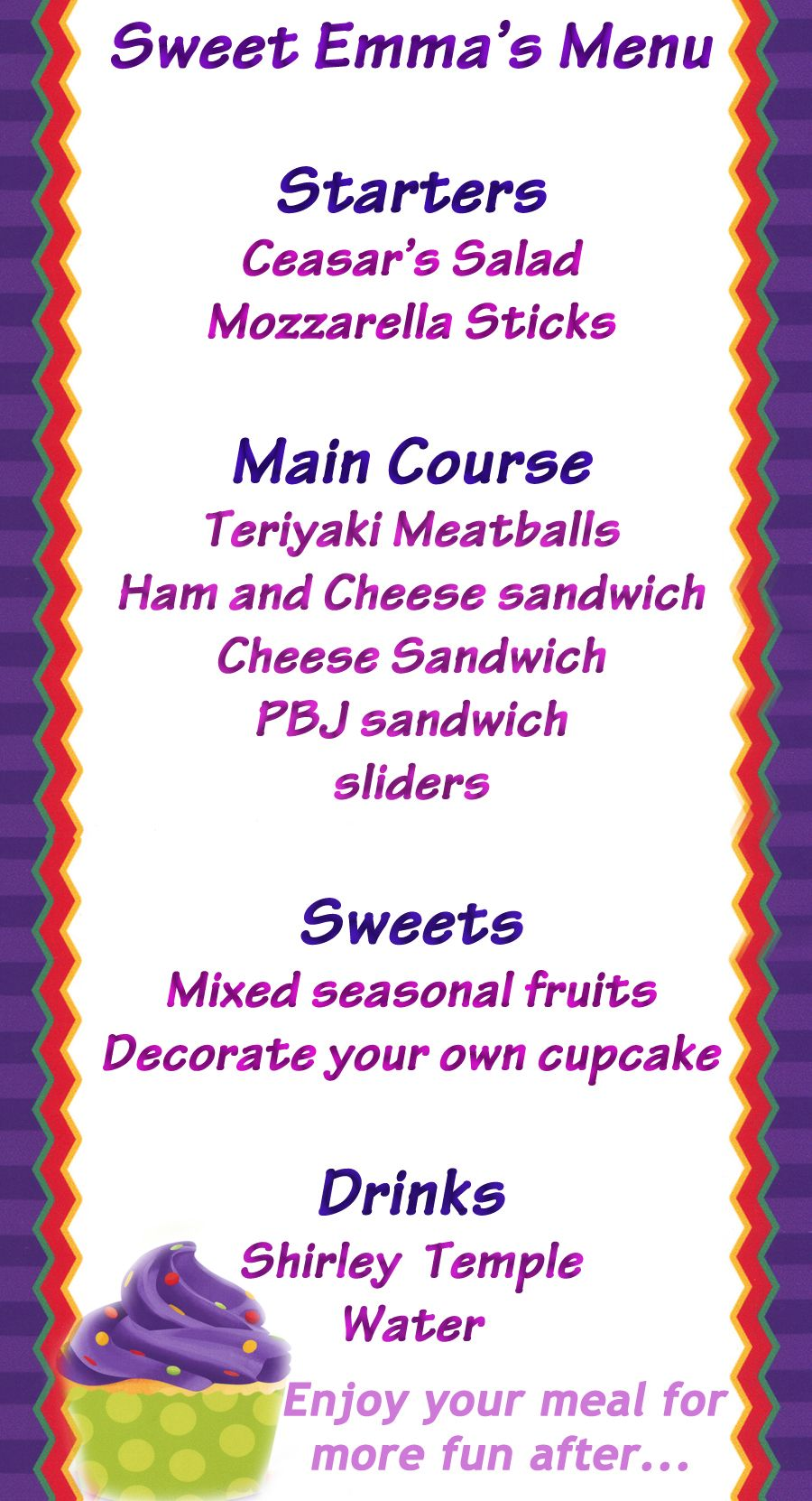 Sample Menu Card For EmmaS Party  PhotographyKids And My Style