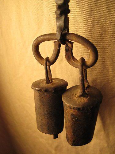 Antique Primitive Hand Forged Hanging Door Bells