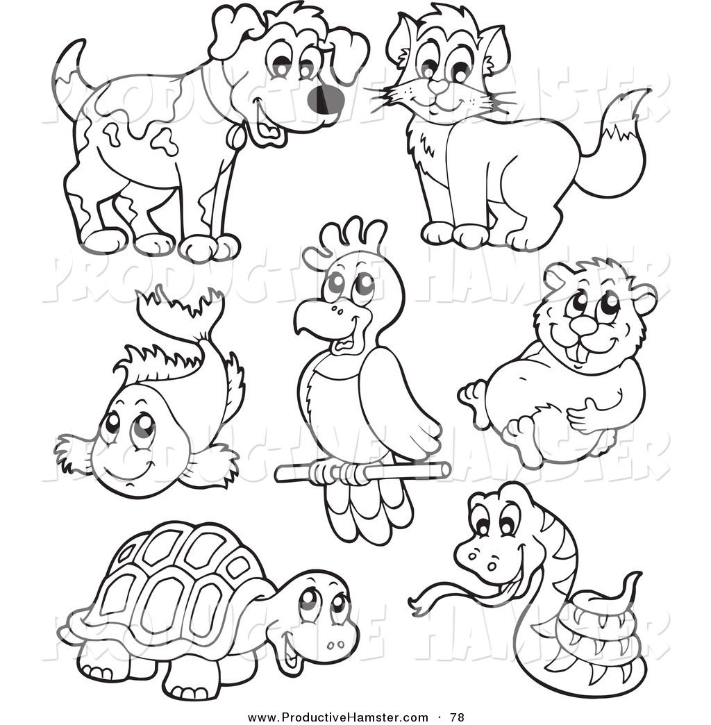 pet pictures free Clip Art of an Outlined Hamster and