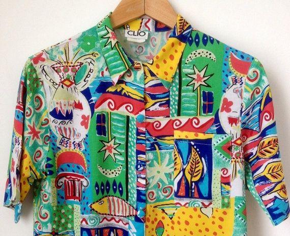 4a7bcb3c317 Vintage Multicolour 90 s Pattern Shirt  90 s Print by Tukvintage ...