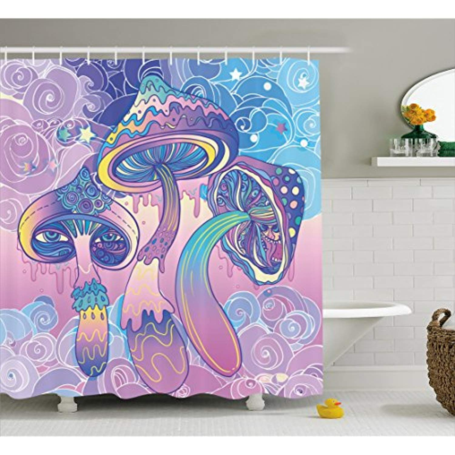 Ambesonne Mushroom Shower Curtain By Trippy Drawing Hippie Decor Sixties Visionary Psychedelic Shamanic Fabric Bathroom Decor Set With Hooks Bathroom Decor Sets Trippy Drawings Psychedelic