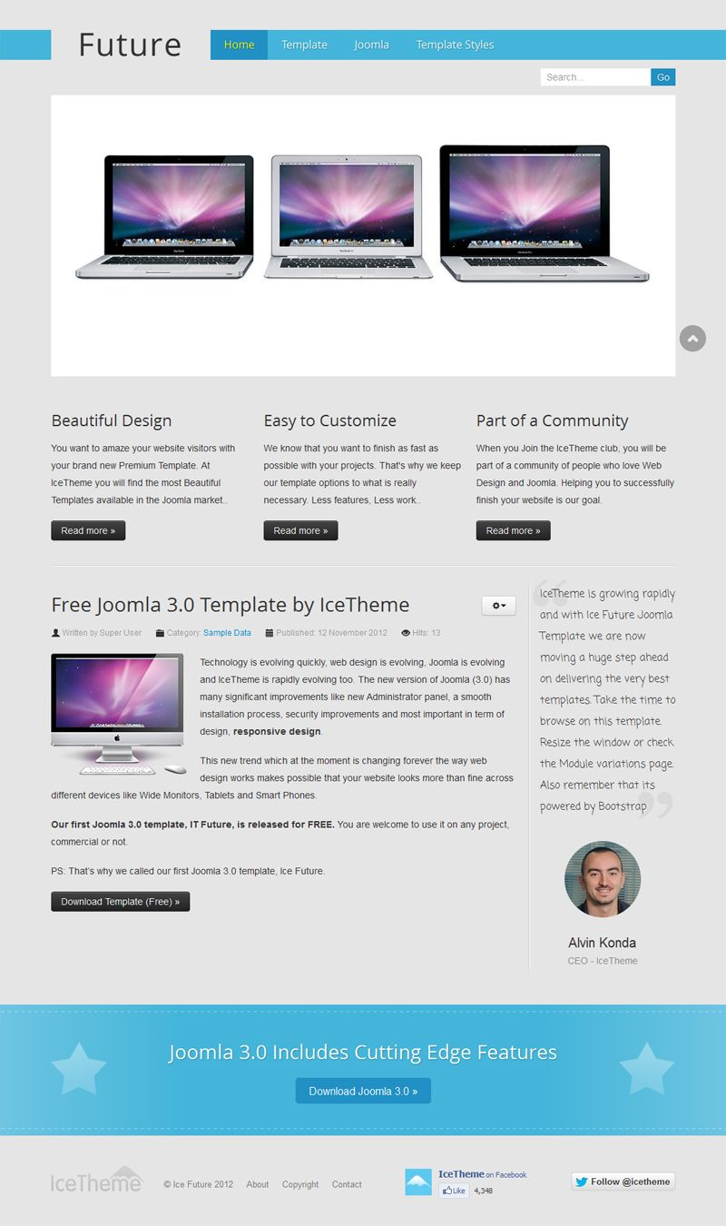 First #Joomla 3.0 template from Icetheme - \