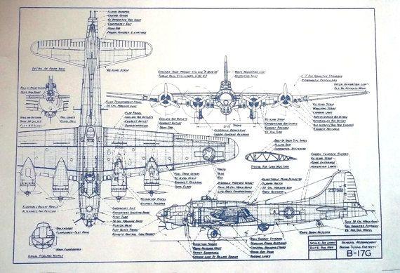 WW II Boeing B-17G Bomber Blueprint Plan 100